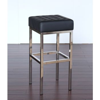 Black Leather and Stainless Steel Bar Stool