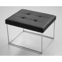 Small Tufted Black Leather Bench