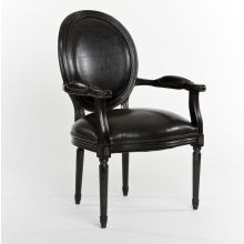 Black Leather Oval Louis Arm Chair
