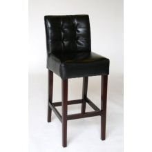 Black Leather Tufted Bar Stool