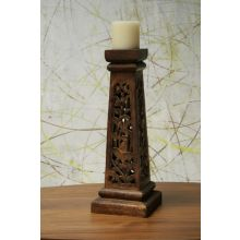 Carved Wood Pillar Candle Holder