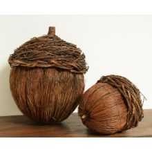 Set of 2 Broom Straw Acorns