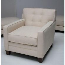 Modern Cream Club Chair with Tufted Back