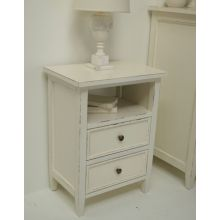 Off White Cottage 2-Drawer Nightstand