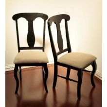 Casual Side Chair in Antique Black Finish with Tan Upholstered Seat