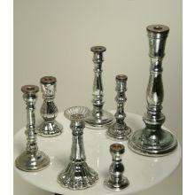 Set of 7 Antiqued Mercury Glass Candlesticks