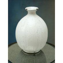Wide Whitewashed Earthenware Vase