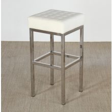 White Leather and Stainless Steel Bar Stool