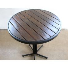 Black Steel and Dark Wood Outdoor Bar Table