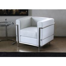 White Leather Corbusier Style Club Chair