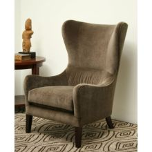 Taupe Velvet Wing Chair