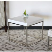 High Gloss White and Stainless Steel Base End Table