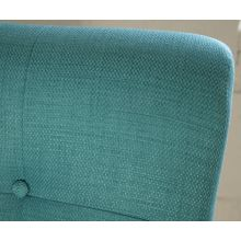 Aqua Tufted Lounge Chair with Walnut Frame