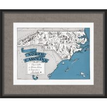Illustrated Map of North Carolina 26W x 21.5H
