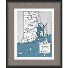 Illustrated Map of Rhode Island 21.5W x 26H