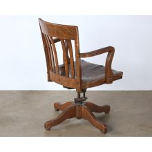 Swiveling Slatback Wooden Non-Rolling Desk Chair