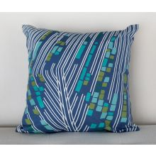 Peacock Blue Retro Geometric Pillow