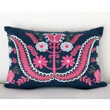 Blue and Fuchsia Mexican Design Pillow