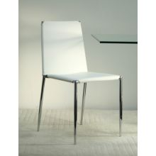 White Leather and Chrome Side Chair