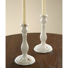 Pair of Romantic White Candle Holders