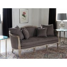 Limed Gray French Style Sofa with Aubergine Linen Upholstery