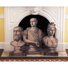 Set of 3 Printed Roman Busts on Stands - Cleared Décor