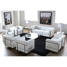 White Leather Corbusier Style Sofa